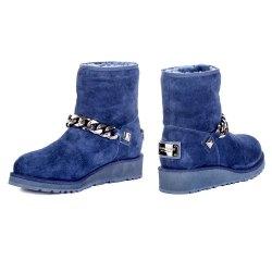 Ботинки меховушки-2 Gianni Renzi 1084 мех синие